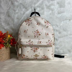 MEDIUM CHARLIE BACKPACK WITH ROSE BOUQUET PRINT